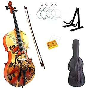 Kinglos 4/4 Colored Solid Wood Student Cello Kit with Soft Case, Stand, Bow, Rosin, Bridge and Extra set of strings Full Size