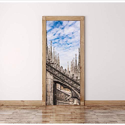 LMTQAZQ 3D Türaufkleber Klassische Kathedrale Wandkunst Tür Wandbild Tapete Wandbild Wandtattoo Wanddeko Wandbild Foto Selbstklebende Türverpackung 77X200CM - Kathedrale Türen
