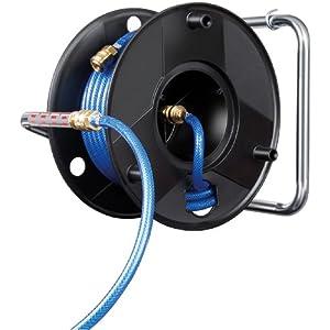 Brennenstuhl 1127010 Tambor antitorsión aire comprimido 20m Ø de manguera 6/12mm Guarnición DIN, Negro, 12mm
