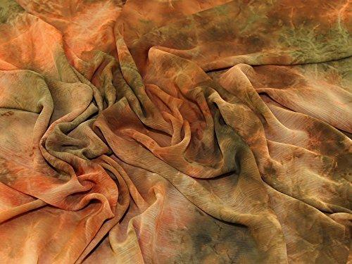 Chiffon Tie Dye (Tie Dye Print Crinkle Chiffon Kleid Stoff Green & Orange–Meterware)