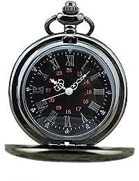 Vococal-Reloj de Bolsillo Patrón Espalda de Ahueque Hacia Fuera con Cadena Larga para Regalo de Cumpleaños(Estilo de Vintage Clásico)