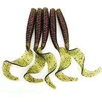 UxradG Señuelo de Pesca Artificial Rizado, 5 Piezas, 8 cm, 4,3 g, Rizado, para Pesca de Trucha, Cebo de Pesca, capuchina, Gusano, Silicona, para Pesca, 7#
