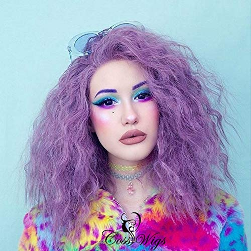 (Cosswigs Purple Lace Front Perücken for Halloween Fashion Bob Synthetic Lace Wig for Women Heat Resistant Replacement Lace Wig)