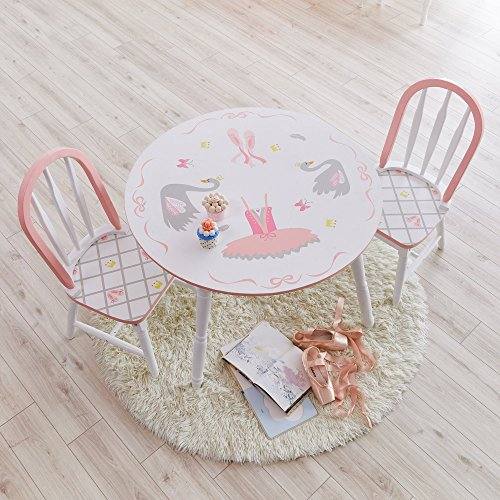 Fantasy Fields - Table de ballerine du lac des Cygnes | Meubles en bois pour enfants peints à la main | Chaises vendues séparément
