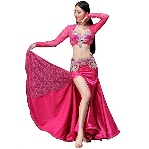 Rock Spitze-bauch-tanzen-tanzen (Bauch tanzen BH gürtel Rock kleine mäntel Set Frau Spitze trainieren Kleider modern Performance kostüm Rose red m)