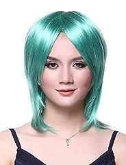 Idea Regalo - Moda parrucche senza cappuccio di alta qualità verde smeraldo dritto lungo parrucca