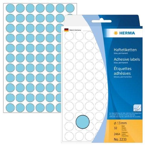 Herma 2233 Vielzweck Etiketten farbig blau, rund (ؘ 13 mm) 2.464 Markierungspunkte, 32 Blatt Papier matt, selbstklebend, Handbeschriftung Runde 13