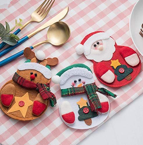 Good Sister Besteckbeutel Weihnachten Tischdekoration für Messer und Gabel mit Santa/Schneemann/Elch Accessoires für Weihnachten Deko - 3pcs