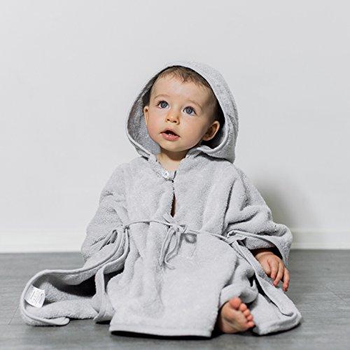 """Mabyen Baby Poncho - Babybademantel Kapuzenbademantel Badehandtuch 100{daf5f5ad82d6ede4cff9907ed33757321db26d028adb8a6e19853a7c5ccb902c} Baumwolle Grau & Hellgrau Bekannt Aus\""""Die Höhle Der Löwen\"""" ..."""