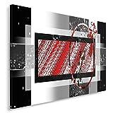 Feeby, Wandbild - 1 Teilig - 60x80 cm, Leinwand Bild Leinwandbilder Bilder Wandbilder Kunstdruck, ABSTRAKTION, GEOMETRIE, ROT, GRAU