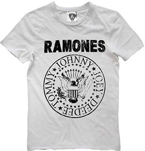 Amplified - Herren Boys Rock Band T-Shirt Ramones Logo weiss (S-XL) (S) Pinhead Cap