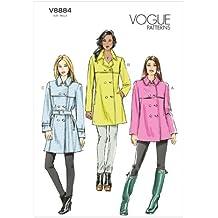 Vogue Patterns V8884 - Patrones de costura para abrigos con cinturón de mujer (tallas 42