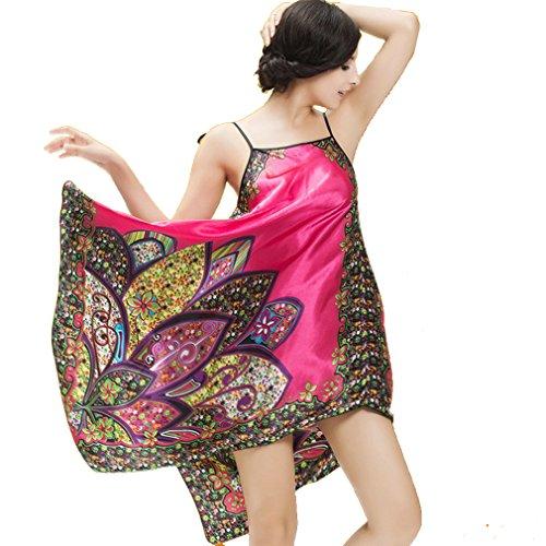 BOYANN Vestaglie e Kimono Boemia Paisley Esotico Pigiami e Camicie da Notte Donna Rose Rosso