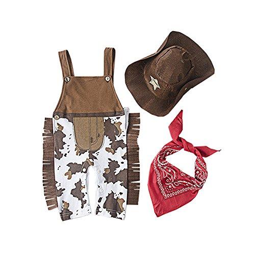 fairy baby Fee-Baby-Cowboy-Spielanzug + Cowboy-Hut + Baby-Rot-Halstuch-Baby-Fotoshoot-Kleidung Size 80 (Cowboy) (Cowboy-hüte Für Jungen)
