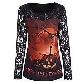 MERICAL Halloween Kostüm Damen Casual Spitze Print Langarm Shirt Bluse(EU:42/CN:XL,Mehrfarbig)