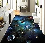 DDBBhome 3D Bodenbelag Sky Solar System Planeten 3D Stereoskopischen Boden Badezimmer PVC Tapete 3D Boden Malerei Tapete, 250X170Cm