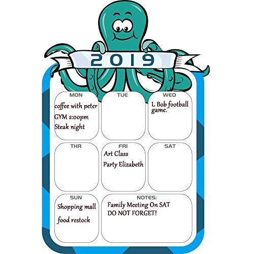 DR.DUDU Weihnachts-Countdown-Kalender, trocken abwischbar, Wochenplaner, Oktopus Neujahr, magnetischer Kühlschrankkalender, 40,6 x 27,9 cm 2019 Blue