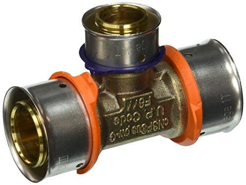 "VIEGA 94056 Pureflow Zero Lead Bronze Pex Press Tee with 1"" x 3/4"" Press x Press (3-Pack)"