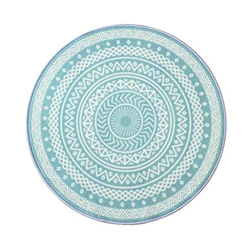 QI FANG BUSINE Grüne Runde Teppich Kleine Frische Wohnzimmer Couchtisch Teppich Korb Zimmer Nach Hause schwenkbar Kissen Blau (Color : Blue, Size : 120cm(47.2 inches))