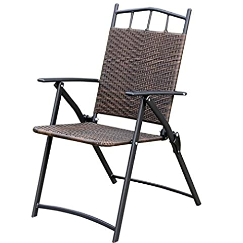 Heruai Natural Rattan Folding Chairs Willow Backrest Armchair Portable Garden Balcony Outdoor Wrought Iron Rattan Chair Folding Chair Pure Hand Wicker Chairs