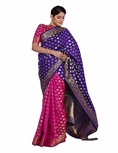Indian Beauty Silk Saree With Blouse Piece (Samurai-Purple_Purple_Free Size)