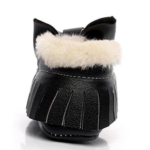 Saingace Krabbelschuhe boots 1 ~ 6 Alter Baby-Bowknot-weiche Sole-Schnee-Aufladungen weiche Krippe-Baumwollschuhe-Kleinkind-Aufladungen Schwarz 8TR9W3H4