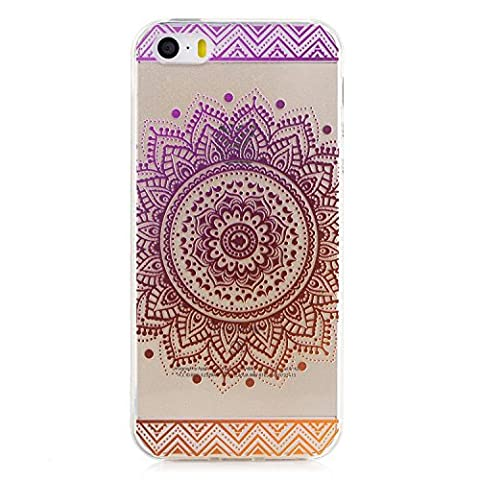 iphone 5 / 5S / SE Clear Case,Transparent Rubber Case for iphone 5 / 5S / SE,Meet de Clear Shock Proof Soft Durable Scratch Resistant Jelly Rubber TPU Protective Case Cover Skin Shell for iphone 5 / 5S / SE with Beautiful Colourful Pattern Design-Purple round flowers