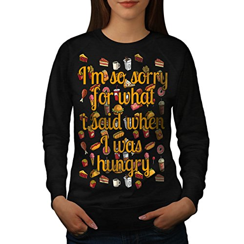 sorry-i-was-hungry-food-anger-women-new-black-l-sweatshirt-wellcoda