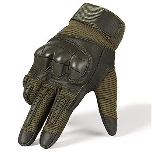 Anti Cut Vollfinger Taktische Armee Handschuhe Militär Paintball Schießen Airsoft Fahrrad Kampf Pu-Leder Touchscreen Gummi Knöchel Anti-Skid (Color : Green, Gloves Size : S) -