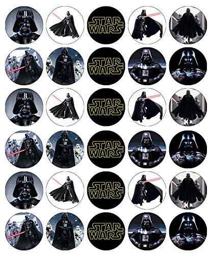 Star Wars Darth Vader Cupcake-Topper, essbares Oblatenpapier, Feen-Motiv, 30 Stück