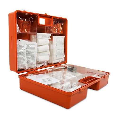 Preisvergleich Produktbild Erste-Hilfe-Koffer gemäß DIN 13169 / großer Verbandskasten für Betriebe / inkl. Wandhalterung / extragroßer Koffer für Zubehör