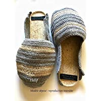 Espadrilles Homme babouches mules gris et beige Semelle de corde antidérapante Made In France Chaussure fait-Main HeyLaineInFrance,Camargue,