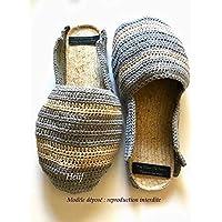Espadrilles Homme babouches mules gris et beige Semelle de corde antidérapante Made In France Chaussure fait-Main HeyLaineInFrance,Camargue,