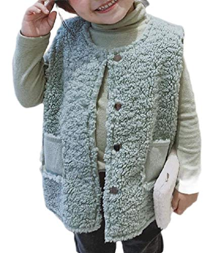 H&E Boys Girls Sherpa Solid Button Jacket Waistcoat Childrens Vest