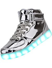 c4eee5568a7c3 Padgene Women s Men s LED Lights Up Trainers High Top Flashing Trainers USB  Charging Lace Up Couples