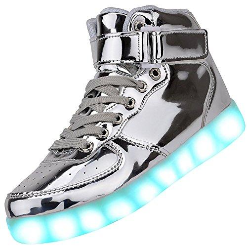 [nueva versión] Padgene Unisex Hombres de las mujeres de alta superior Cargador USB LED Luces [7colores] Zapatillas luz Up Formadores Zapatos Sportswear Zapatillas de running zapatos de parejas, Plateado - plata, 40 EU