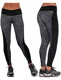 Tongshi Las mujeres se divierte los pantalones de las polainas del Athletic Gym Yoga Fitness Workout Pantalones (Gris, M)
