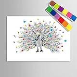 RSD Unterschrift Gemälde Kreative DIY personalisierte Fingerabdruck Malerei Leinwand Drucke - Pfau Hand Zeichnung (enthält 12 Tinte Farben), blank, 60*75cm