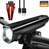 Toptrek Fahrradlichter Set StVZO Zugelassen Akku Fahrradlicht USB Wiederaufladbare LED Fahrradbeleuchtung Samsung Li-ion Batterie/Cree LED Wasserdicht IPX4 Fahrradlampe (Schwarz)