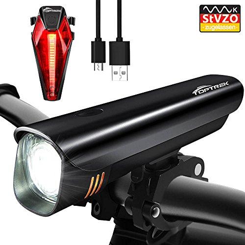 Toptrek Fahrradlichter Set StVZO Zugelassen akku Fahrradlicht USB Wiederaufladbare LED Fahrradbeleuchtung Samsung Li-ion Batterie / CREE LED Wasserdicht IPX4 Fahrradlampe (Schwarz)