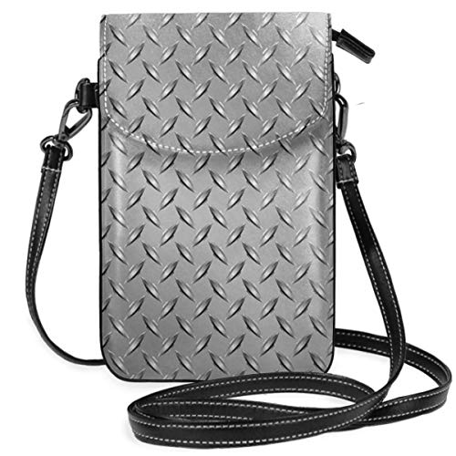 Jiger Women Small Cell Phone Purse Crossbody,Wire Fence Design Netting Display With Diamond Plate Effects Chrome Kitsch Motif Print -