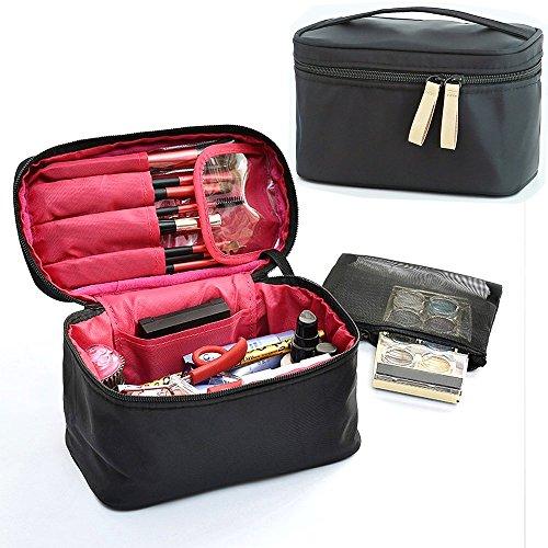 Make-up-Pinsel Tasche, hoyofo Travel Make-up Taschen Kosmetik Organizer mit Netztasche und Gurtband Halter für Frauen (Iron Reise-bürste, Curling)