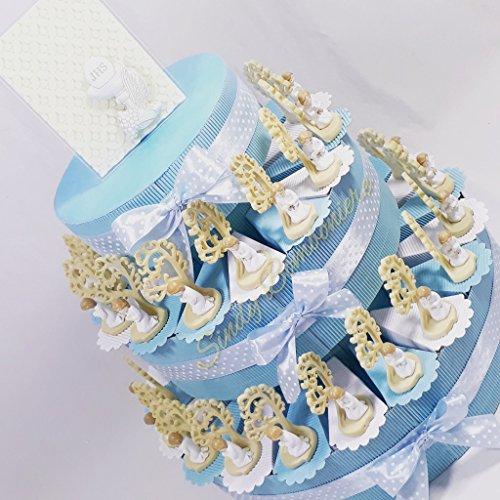 Torta porta bomboniere per cresima con alberi della vita con bambino centrale carlo pignatelli (torta da 20 fette)