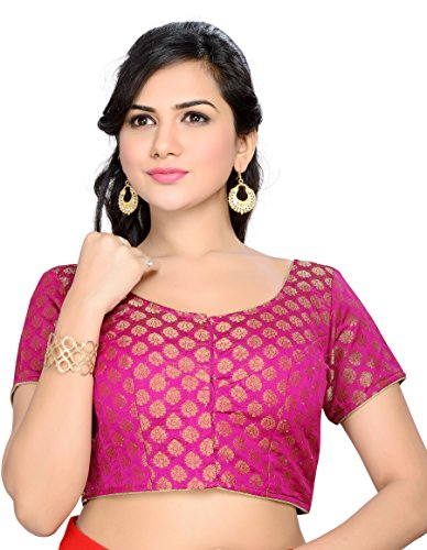 Studio Shringaar Bright Pink Brocade Butti Stitched Blouse
