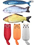 Gejoy 6 Pieces Catnip Fish Toys for Cat Playing Chewing Teeth Cleaning Fish Type Catnip Toys Creative Catnip Teeth Cartoon Chew Toys