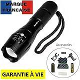 Halepro Torcia lampada tascabile LED, utilizzabile anche per bicicletta, LED ultra potente Zoomable, CREE LED T6-1000 lumen, Nero