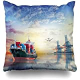 Throw Pillow Cover 16x16 (40 x 40cm) Supply Logistics International Container Cargo Ship Chain de livraison Fret industriel Sea Ocean Port Taie d'oreiller...