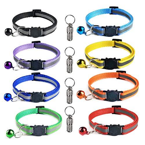 YANSHON 8 Stück Nylon Katzenhalsband Reflektierendes Katzenhalsbänder + 4 Stück Anhänger mit sicherheitsverschluss, Verstellbar 20-30 cm, Halsbänder geeignet für die meisten Hauskatzen