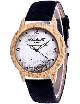 Souarts Damen Armbanduhr Einfache Muster Deko Uhr mit Batterie Charm Geschenk Schwarz