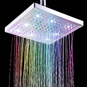 """Anself 8"""" Square carré pommeau 7 Colors Changing LED Shower Head Sprinkler - La lumière change de couleur avec la température de l'eau automatiquement"""